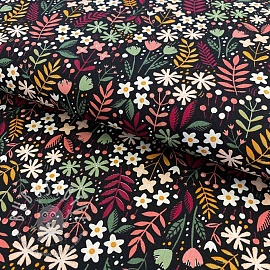 Baumwollstoff  Brushed bloom black