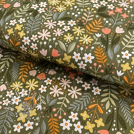 Baumwollstoff  Brushed bloom moss green