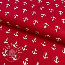 Baumwollstoff Anchor red