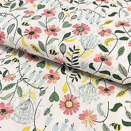 Baumwollstoff Brushed flowers white