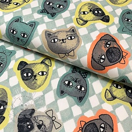 Baumwollstoff Cats and Dogs mint