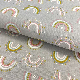 Baumwollstoff FLANEL Rainbow light grey
