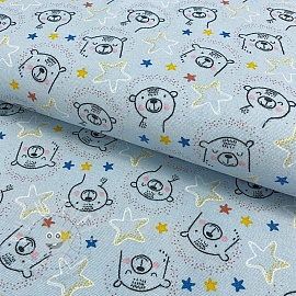 Baumwollstoff FLANEL Sweet bear light blue