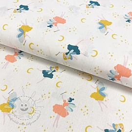 Baumwollstoff GOTS Magical night white
