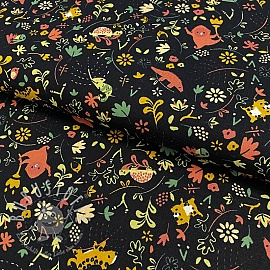 Baumwollstoff GOTS Welcome to the jungle black
