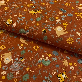 Baumwollstoff GOTS Welcome to the jungle terra cotta