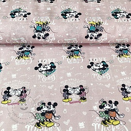 Baumwollstoff Mickey and Minnie Forever digital print