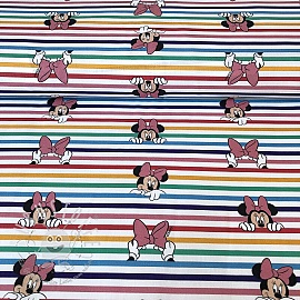 Baumwollstoff Rainbow Minnie stripes digital print