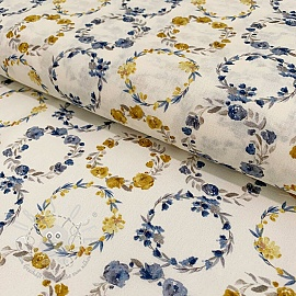 Cotton voile Bagatelle circles amarillo