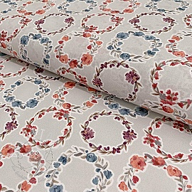 Cotton voile Bagatelle circles coral