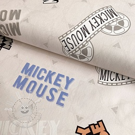 Dekostoff Mickey Mouse Movie banner beige digital print