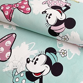Dekostoff Mickey Mouse Sweet Minnie BIG blue digital print