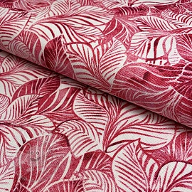Dekostoff Tropical leaf pink