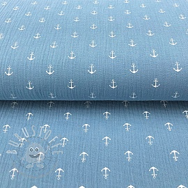 Double gauze/muslin Anchor light blue