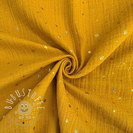 Double gauze/muslin Crazy dots ochre gold
