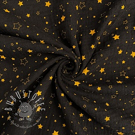 Double gauze/muslin Crazy stars black gold