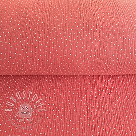 Double gauze/muslin Dots soft red