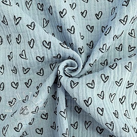 Double gauze/muslin Hearts light blue