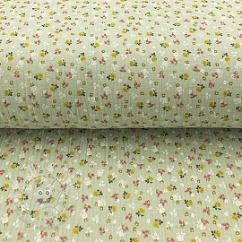 Double gauze/muslin Lovely flowers mint
