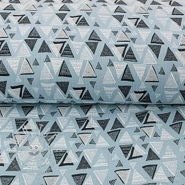 Double gauze/muslin Triangles light blue
