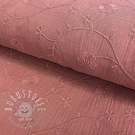 Double gauze/musselin Embroidery Clover old pink