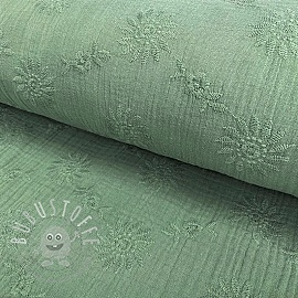 Double gauze/musselin Embroidery Daisy old green