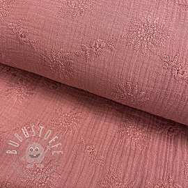 Double gauze/musselin Embroidery Daisy old pink