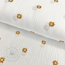 Double gauze/musselin Embroidery FLOWERY white