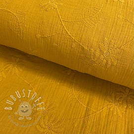 Double gauze/musselin Embroidery Leaf ochre