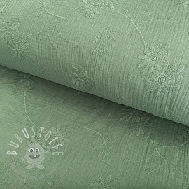Double gauze/musselin Embroidery Leaf old green