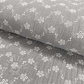 Double gauze/musselin Embroidery Tiny flowers grey