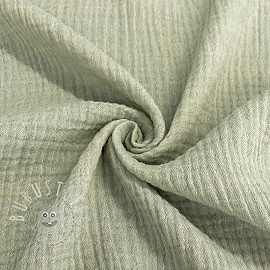 Double gauze/musselin Melange old green