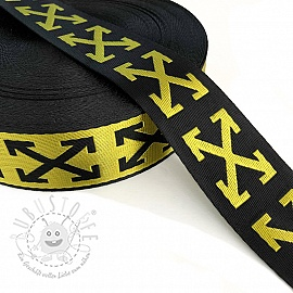 Gurtband 3,5 cm Cross yellow
