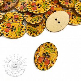 Holzknopf Butterfly yellow