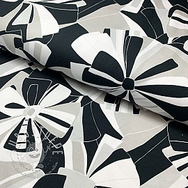 Jersey Black and white flowers digital print