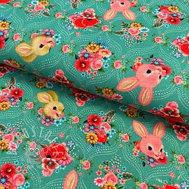 Jersey Happy bunnies teal digital print