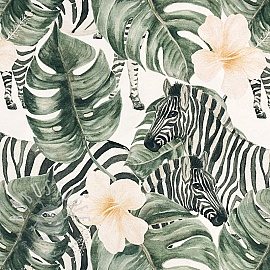Jersey Monstera and Zebra digital print
