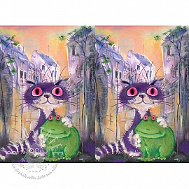 Jersey Psycho frog and cat digital print panel