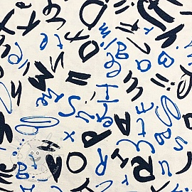 Jersey viscose Letters white blue