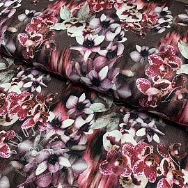Jersey viscose Orchids brown