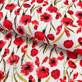 Jersey viscose Poppy field white