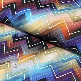 Jersey Zigzag blue digital print