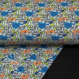 Softshell The dinos are back grey digital print