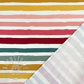 Sommersweat Colored stripes off white rose