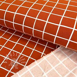 Sweat kuschel GOTS Grid terracotta